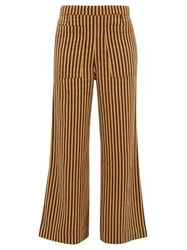 Ace And Jig Laura Trapeze Weave Cotton Wide Leg Trousers Beige Multi