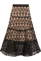 Alexis Anmarie Grosgrain Trimmed Embroidered Tulle Midi Skirt Black
