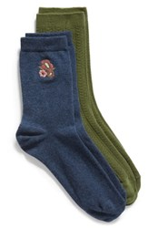 Treasure And Bond 2 Pack Cable Knit Crew Socks Navy Nite Multi