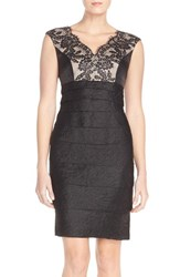Women's London Times Lace And Pleat Satin Sheath Dress