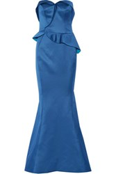 Zac Posen Duchess Satin Peplum Gown Bright Blue