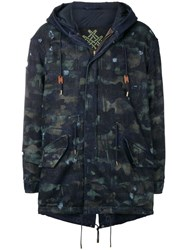 Mr And Mrs Italy Distressed Parka Coat Blue