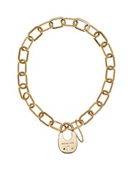 Michael Kors Cityscape Hardware Padlock Chain Necklace Gold