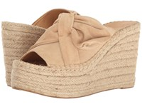 Marc Fisher Aida New Nude Kid Suede Women's Wedge Shoes Beige