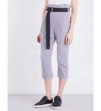 Rag And Bone Bosworth High Rise Cropped Cotton Trousers Black Stripe