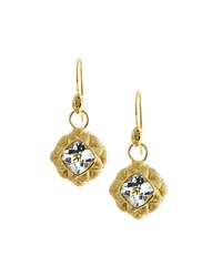 Jude Frances Judefrances Jewelry 18K White Topaz Quilted Pillow Earring Charms Women's