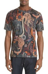 Paul Smith Men's Monkey Print T Shirt Washed Black