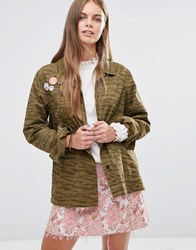 Maison Scotch Peace Badges Safari Jacket B Khaki Green