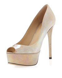 B By Brian Atwood Bambola Patent Leather Platform Pump Gray