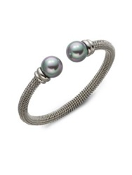 Majorica 12Mm Grey Round Pearl Tipped Bracelet Silver