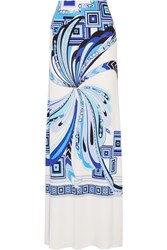 Emilio Pucci Printed Silk Jersey Maxi Skirt Blue