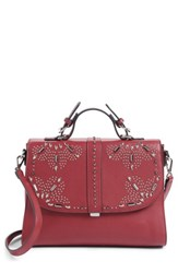 Chelsea 28 Chelsea28 Blair Embellished Faux Leather Top Handle Satchel Red Red Cerise