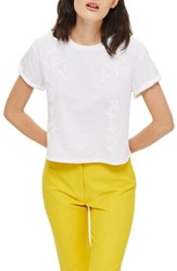 Topshop Women's Embroidered Crop Tee White