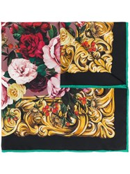 Dolce And Gabbana Silk Floral Scarf Black