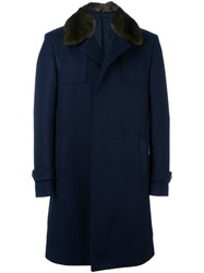 Fendi Mink Fur Collar Coat Blue