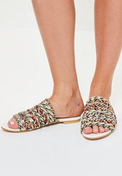 Missguided White Rope Details Flat Mule Sandals