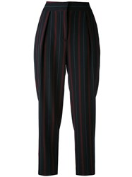 See By Chloe Stripe Cropped Trousers Women Polyester Spandex Elastane Viscose 40 Blue