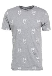 Knowledge Cotton Apparel Big Owl Print Tshirt Grey Melange Mottled Grey
