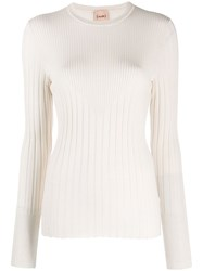 Nude Ribbed Fiited Pullover Neutrals