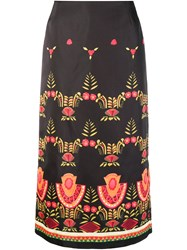 La Doublej Mexican Embroidery Midi Skirt Black