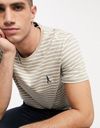 Selected Homme Organic Cotton Embroidered Logo Striped T Shirt In White