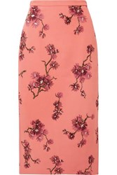Erdem Maira Embroidered Crepe Midi Skirt Pink