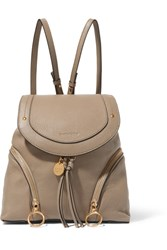 See By Chloe Olga Medium Textured Leather Backpack Light Gray