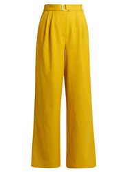 Tibi Wide Leg Twill Trousers Yellow