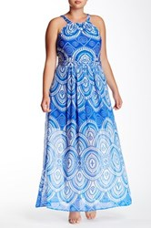 Taylor Printed Halter Maxi Dress Plus Size Blue