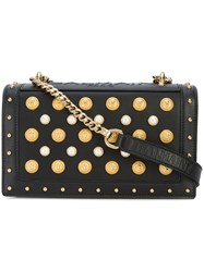 Balmain Studded Foldover Shoulder Bag Black