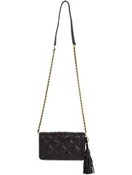 Tory Burch Fleming Quilted Leather Chain Wallet Bag Black
