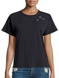 Rag And Bone Star Embroidered Cotton Tee Black