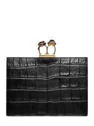Alexander Mcqueen Small Croc Embossed Leather Clutch Black