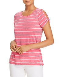 Marc New York Performance Striped Cold Shoulder Twist Tee Pink Passion White