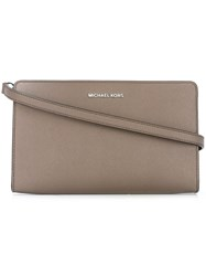 Michael Michael Kors Zipped Flat Crossbody Bag Grey