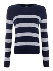Gant Barstriped Glitter Crewneck Jumper Blue