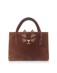 Charlotte Olympia Handbags Tan Suede And Natural Linen Feline Petit Poitier Tote Bag