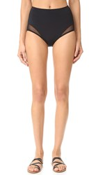 Beth Richards High Waist Mesh Bikini Bottoms Black Mesh