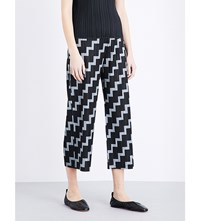 Issey Miyake Pleats Please Zig Zag Crepe Trousers Grey