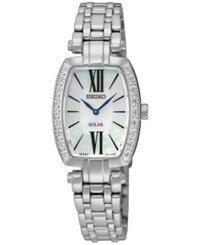 Seiko Women's Solar Tressia Diamond Accent Stainless Steel Bracelet Watch 22Mm Sup283 No Color