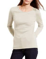 Lauren Ralph Lauren Petite Cotton Zip Shoulder Tee Oatmeal Heather