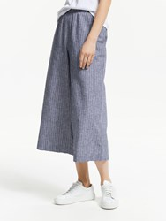 John Lewis Collection Weekend By Wide Leg Cotton Linen Stripe Culottes Navy