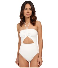 Michael Michael Kors Draped Solids Halter Maillot One Piece White Women's Swimsuits One Piece