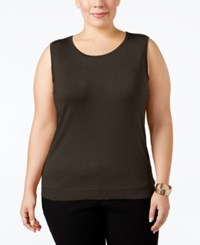 August Silk Plus Size Sleeveless Shell Dark Clove