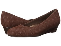 Trotters Lauren Brown 3D Patent Suede Leather Women's Slip On Dress Shoes