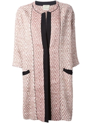 Forte Forte Geometric Jacquard Coat Red