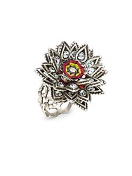 Miriam Haskell Crystal Studded Ring Silver