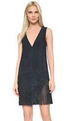 Dion Lee Perforated Suede Shift Dress Ink