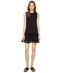 Red Valentino Light Cotton Jersey And Point D'esprit Dress Black