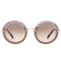 Miu Miu Noir Glitter Circle Sunglasses Grey
